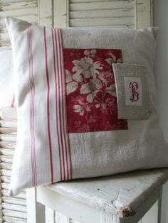 Sewing Pillows Patchwork Pillow Cover with Embroidered Monogram Sewing Pillows, Diy Pillows, Custom Pillows, Cushions, Throw Pillows, Patchwork Cushion, Quilted Pillow, Handmade Pillows, Decorative Pillows
