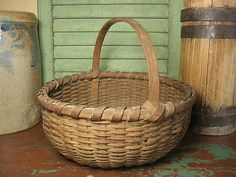 Granny's Early Old Authentic Woven Splint Farm Basket                         ****