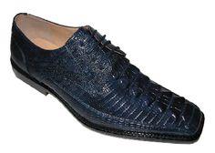 Bolano Footwear Men's Lizard Print Lace up Dress Shoes - Alligator Finish
