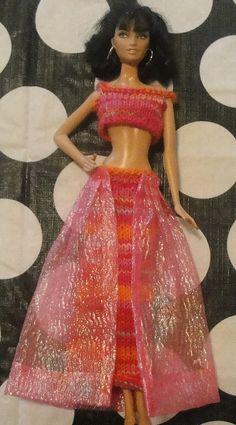 Barbie Pink and Orange Genie dress by BeauregardKnits on Etsy, $10.97