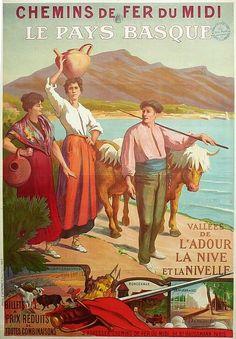 ✨  E. DEMONBE - Pays Basque Chemin de fer du midi, Vallées de l'Adour, Saint-Jean de Luz, ca. 1900. Atelier E DEMONBE - PARIS