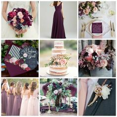 Blush & Plum Wedding Inspiration from Burgh Brides Plum Wedding Dresses, Blush Wedding Colors, Plum Bridesmaid Dresses, Purple Wedding Flowers, Blush Pink Weddings, Wedding Color Schemes, Wedding Bridesmaids, Wedding Flower Guide, Wedding Themes