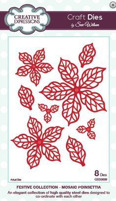 Creative Expressions Sue Wilson Die -Festive Collection - Mosaic Poinsettia - CED3009