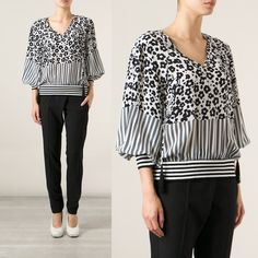 Black and white animal print satin blouse Black and white cheetah and leopard print top in satin chiffon material. V neckline. Flowy fit with loose, open bell sleeves. Never been worn, brand new! Size medium Urban Outfitters Tops Blouses