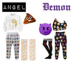 """Emoji Pajamas"" by emo-p3rla ❤ liked on Polyvore featuring Chicnova Fashion and Living Royal"