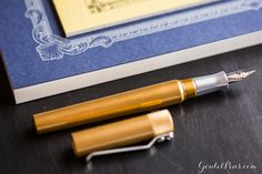 Want to customize your fountain pen? Try a Karas Kustoms Fountain K in Gold Aluminum! Each part is swappable while the German nib writes like a dream. Pin for later.