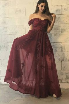 Trendy Off Shoulder Maroon Long Prom Dress with Appliques