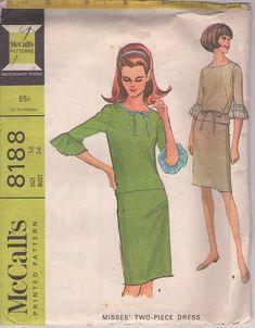 MOMSPatterns Vintage Sewing Patterns - McCall's 8188 Vintage 60's Sewing Pattern FUN Flashy Contrast Sleeve Flounce Top, Blouse, Sheath Skirt, 2 Piece Mod Dress Size 14