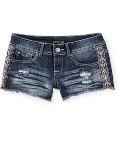 The stretch denim of these short shorts allows for optimum comfort and mobility, while the dark wash finished with colorful embroidered detailing at the sides takes your style to the next level.