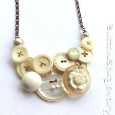 White and Natural Vintage Button Jewelry Statement Necklace - Nude Neutral Pearly by buttonsoupjewelry on Etsy