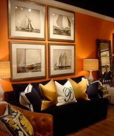 Orange wall with black & white Sailing Prints ~ Barclay Butera Interior Decorating, Interior Design, Decorating Ideas, Room Colors, Paint Colors, Grey Furniture, Orange Walls, Room Themes, My Dream Home