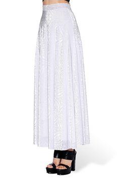 M Burned Velvet White Maxi Skirt - LIMITED – Black Milk Clothing (Nomfest)