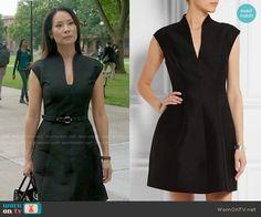 Joan's black v-neck dress on Elementary.  Outfit Details: https://wornontv.net/54415/ #Elementary