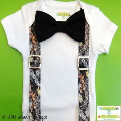 Baby Boy Clothes - Baby Real Tree Camouflage Suspenders - Real Tree Hunting Camo Baby Outfit - Camo Suspender Onesie - Baby Hunting Onesie by Noahs Boytique, $19.00