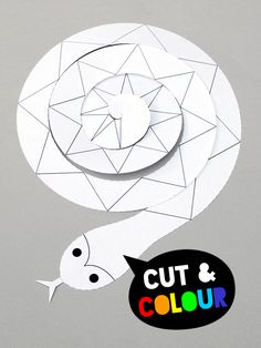 snake art projects for kids - Cut + colour spiral paper snake Kids Crafts, Animal Crafts For Kids, Craft Projects For Kids, Arts And Crafts Projects, Cute Crafts, Art For Kids, Snake Party, Snakes For Kids, Cutting Activities For Kids