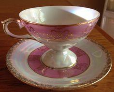 Vintage Pink Lustrewear Tea Cup and Saucer