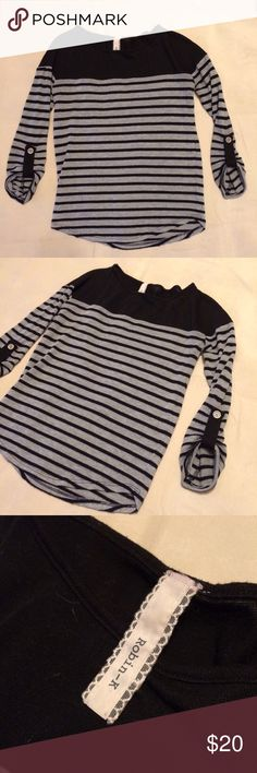 Casual black and grey 3/4 sleeve top Comfy, cute and casual--looks great with skinny jeans and combat boots; thinner material but not so much that you couldn't get away with just a bra underneath 😎 Robin-K Tops