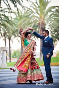 Following their traditional Sikh wedding ceremony, this Indian bride and groom take a moment to pose for some beautiful portraits.