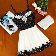 Lace stitching miniskirt dress