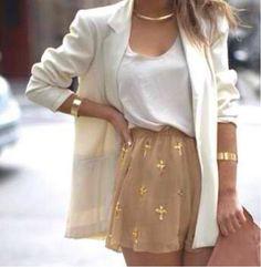 blazer with dress shorts & clutch