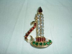 m.jent brooch Christmas candle pin red by quality vintage jewels This is my favorite and think I will see if I can buy it! But it's so expensive! 48.00 Dollars, Whew!