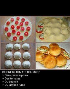 Beignet tomate, boursin Beignets, Boursin, Pizza, Finger Foods, Food And Drink, Appetizers, Snacks, Buffets, Ramadan