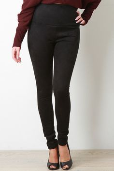 High Waisted Vegan Suede Pants - Gioellia Boutique - 5
