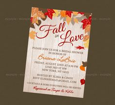 Fall Bridal Shower Invitation Autumn Bride Autumn Wedding Shower ...