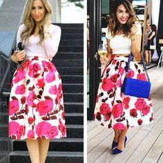 New Fashion Women's Retro Style Rose Red Floral Printed Casual Party Pleated Midi Skirts via @forsevenseasons
