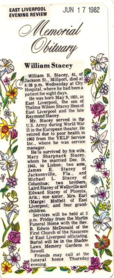 William Stacey Obit - Photos and Stories — FamilySearch.org. Mike's Father.