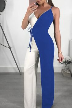 ebf75cf3f0 V-neck Mixed Color Bandage Sleeveless Jumpsuit – Stylowe Stroje