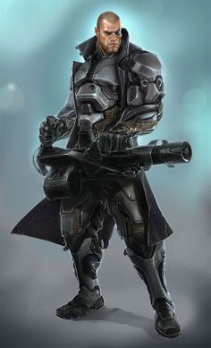 Soldier with heavy weapon and a sense of style Sci Fi Rpg, Sci Fi Armor, Cyberpunk Rpg, Cyberpunk Character, Character Concept, Character Art, Blade Runner, Science Fiction, Future Soldier