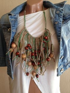 Macrame TRIBAL NECKLACE macrame statement necklace Mediterranean Style  with ceramic beads Statement Necklace Resort wear gift for her