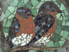 Tile and glass bluebird mosaic table