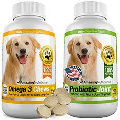 Amazing Combo Omega-3 Fish Oil and Probiotics for Dogs - Pure All-Natural Pet Antioxidant - Promotes Shiny Coat, Brain Health, Eliminates Diarrhea Gas and Joint Pain, Tasty Chews x 2 120 *** Want to know more, click on the image. #DogHealthSupplies