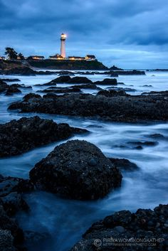 Pigeon Point Lighthouse in a rain storm, California