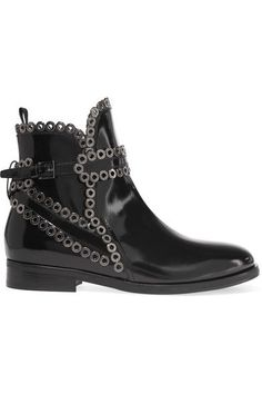 Alaïa - Eyelet-embellished Glossed-leather Chelsea Boots - Black - IT38.5