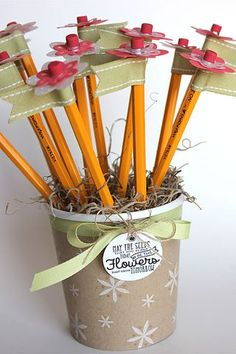 Pencil Bouquet and Decorated Pint Container by Heather Nichols for Papertrey Ink (April 2015)