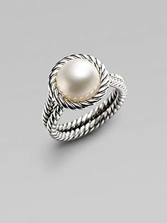 David Yurman White Freshwater Pearl & Sterling Silver Cable Ring