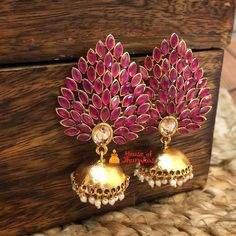 Here are some of the stunning imitation jhumka design for the year 2020 by the brand House of Jhumka. Indian Jewelry Earrings, Jewelry Design Earrings, Ear Jewelry, Silver Jewelry, Jewellery, Jhumka Designs, Gold Designs, Wedding Accessories, Fashion Accessories
