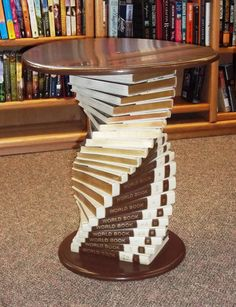 A fitting table for the local library, or a new use for old encyclopedias