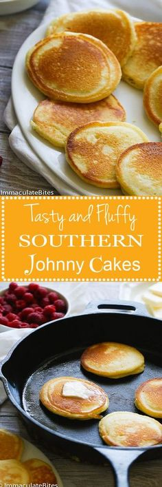 These Southern Johnny Cakes aka Hoe Cakes would be a great alternative to your everyday pancake – Made with cornmeal , with a touch of sugar and nutmeg – Light , Fluffy with a delicious crisp edge. Yummy-A Breakfast Desayunos, Breakfast Dishes, Breakfast Recipes, Good Food, Yummy Food, Tasty, Crepes, Johnny Cakes Recipe, Brunch Recipes