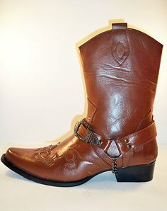 Mens Leather Italian Western Pattern Brown Cowboy boots in size 8 9 10 11 12