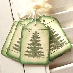 Pine Tree Tags - Nature, Scrolls, Elegant, Green and Cream 8 - Sweetly Scrapped