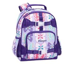 Small Backpack, Mackenzie Lavender/Purple Preppy Butterflies