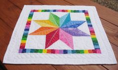 Quilted Star Table Topper Bright Colors by SharleesQuiltCottage
