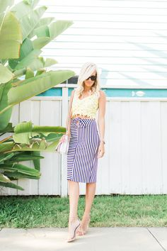Photos: by Reality and Retrospect Top: Lover + Friends | Skirt: Nordstrom | Shoes: Steve Madden | Bag: Rebecca Minkoff | Sunglasses: Celine, also love these! | Watch: Michael Kors This navy striped pencil skirt is a great closet staple, plus it's at a great price point!  I'm also loving yellow this summer and …