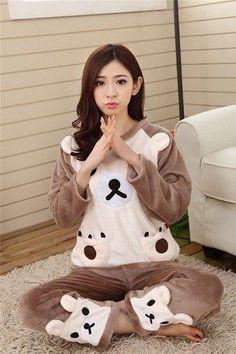 Autumn Winter Women Pajamas Set 2017 Women Pajamas Pant Sleepwear Warm Nightgown  Sleepwear Flannel  Cotton Blended Female Pajama 42d3a4fbb