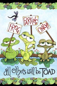 Frog Parking by Jennifer Nilsson Funny Frogs, Cute Frogs, Frog Bathroom, Frog Quotes, Frog Rock, Frog Illustration, Frog Drawing, Frog Pictures, Frog Art