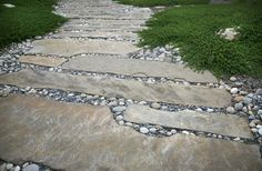 Stone Path- around patio Walkway and Path Grace Design Associates Santa Barbara, CA River Rock Landscaping, Landscaping With Rocks, Backyard Landscaping, Rock Walkway, Landscaping Ideas, Contemporary Landscape, Landscape Design, Landscape Architecture, Horticulture
